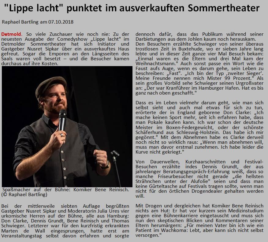 LZ: Lippe lacht punktet im ausverkauften Sommertheater (5.10 2009 mit Don Clarke, thomas Schwieger, Bene Reinisch und Dennis Grundt)