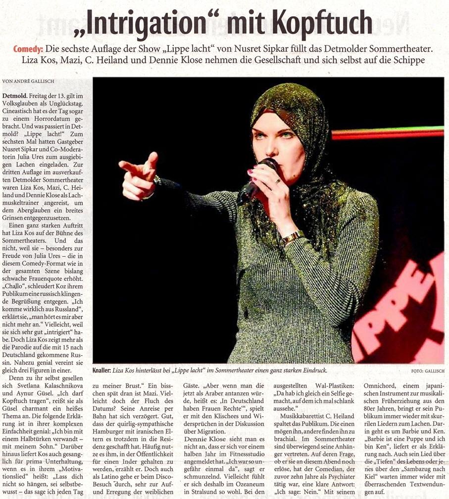 """""""Intrigation mit Kopftuch"""" – Lippe lacht am 13.04.2018 mit C. Heiland, Liza Kos, Mazi, Dennie Klose"""
