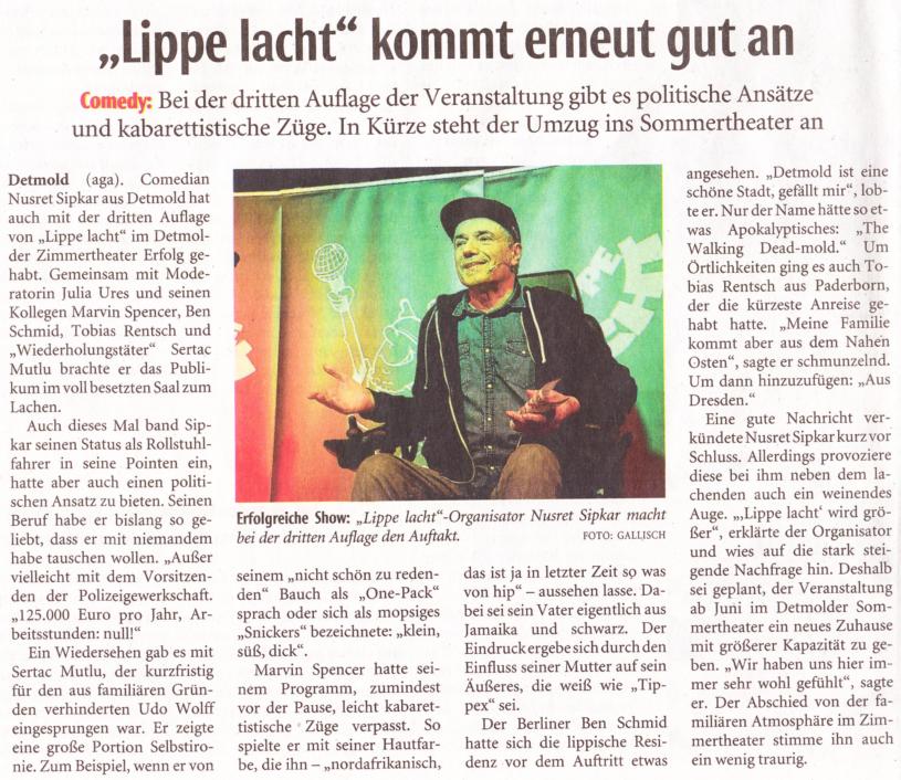 LZ: Lippe lacht kommt erneut gut an – 16. März 2017 mit Marvin Spencer, Sertac Mutlu,  Ben Schmid und Tobias Rentzsch