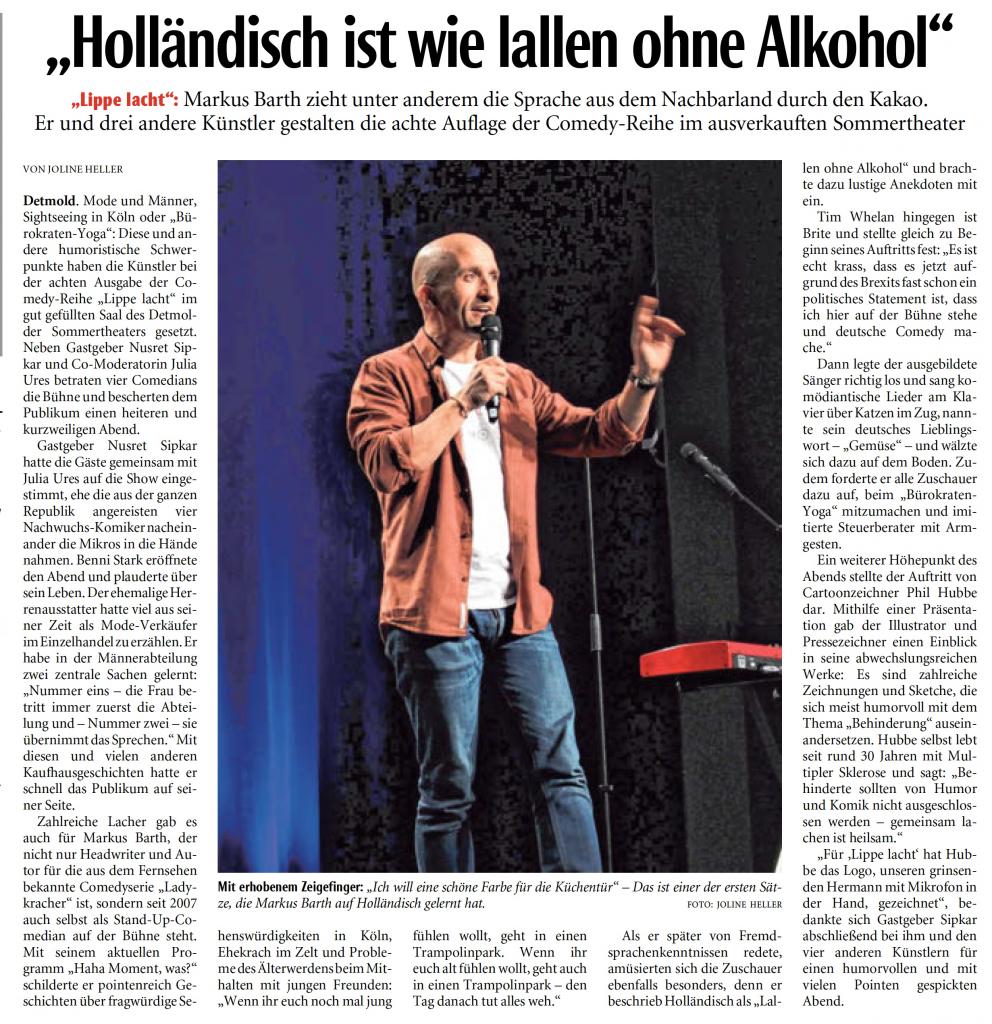 LIPPE LACHT No. 8 am 05.04.2019 – mit Benni Stark, Markus Barth, Tim Wehlan & Phil Hubbe (Lippische Landes-Zeitung)