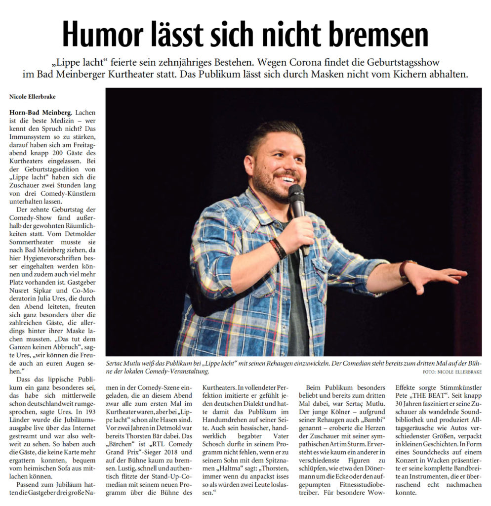 LIPPE LACHT #10 am 23.10.2020  mit Thorsten Bär, Pete THE BEAT, Sertac Mutlu und Nusret Sipkar. Co-moderation: Julia Ures (Lippische Landes-Zeitung)